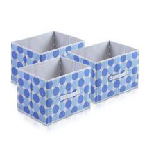 Furinno Laci Dot Design Non-Woven Fabric Soft Storage Organizer (3 Pack), Baby Blue