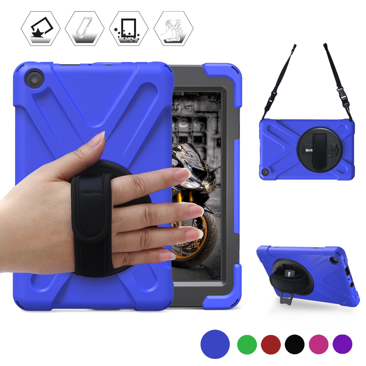 BRAECN All-New Fire HD 8(2018/2017 Released, 8th/7th Generation Only) Three Layer Armor Defender Full Body Protective Case Cover/Hand Strap/Shoulder Strap for Amazon Kindle Fire HD8 (Blue)