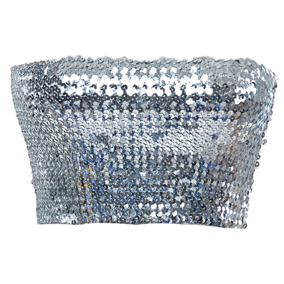 Anna-Kaci Womens Shiny Sequin Party Cropped Strapless Bandeau Stretch Tube Top