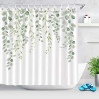 ECOTOB Green Leaves Shower Curtain for Bathroom, Spring Watercolor Plant Floral Round Eucalyptus Green Leaf Fabric Bathroom Decor Set with Shower Curtain Hooks, 72x72 Inch