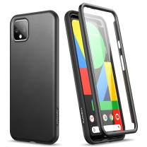 """SURITCH Case for Google Pixel 4,【Built in Screen Protector】 Lightweight Slim Soft TPU Rugged Dual-Layer Full Body Protective Case Hybrid Bumper Matte Thin Shockproof for Google Pixel 4 5.6""""(Black)"""