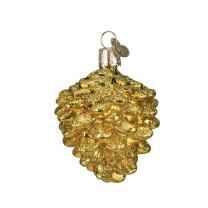 Old World Christmas Assortment Glass Blown Ornaments for Christmas Tree Small Gold Pine Cone