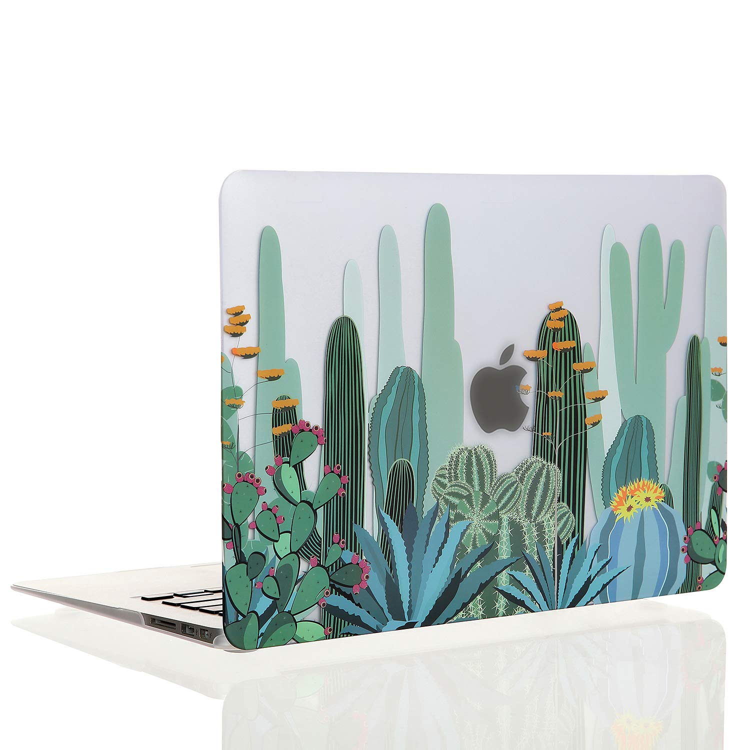 EkuaBot Cactus MacBook Pro 15 inch Case (A1990/A1707, New Version 2016-2019 Release), Matt Clear Rubber Coated Soft Touch Hard Case Cover Only Compatible MacBook Pro 15.4 inch with Touch Bar