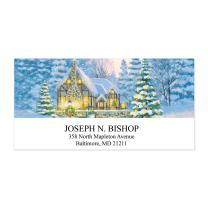 Warm Winter Cottage Sheeted Holiday Address Labels - 48 Address Labels - 2 Inches High x 2 1/4 Inches Long