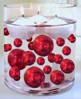 4 Packs Sale Red Pearls - No Hole Jumbo/Assorted Sizes Vase Decorations - to Float The Pearls Order The Floating Packs from The Options Below