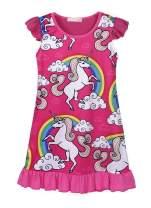 Cotrio Rainbow Unicorn Nightgown Little Girls Sleepwear Pajamas Night Dresses Kids Ruffle Short Sleeve Princess Nightie Dress 3-10Years (4T, 3-4Yrs, Hot Pink)