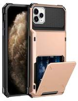 ELOVEN Case for iPhone 11 Pro Max Case Wallet with Card Holder Card Slot Hidden Credit Card ID Shock Absorption Heavy Duty Drop Protection Bumper Protective Cover for iPhone 11 Pro Max, Rose Gold