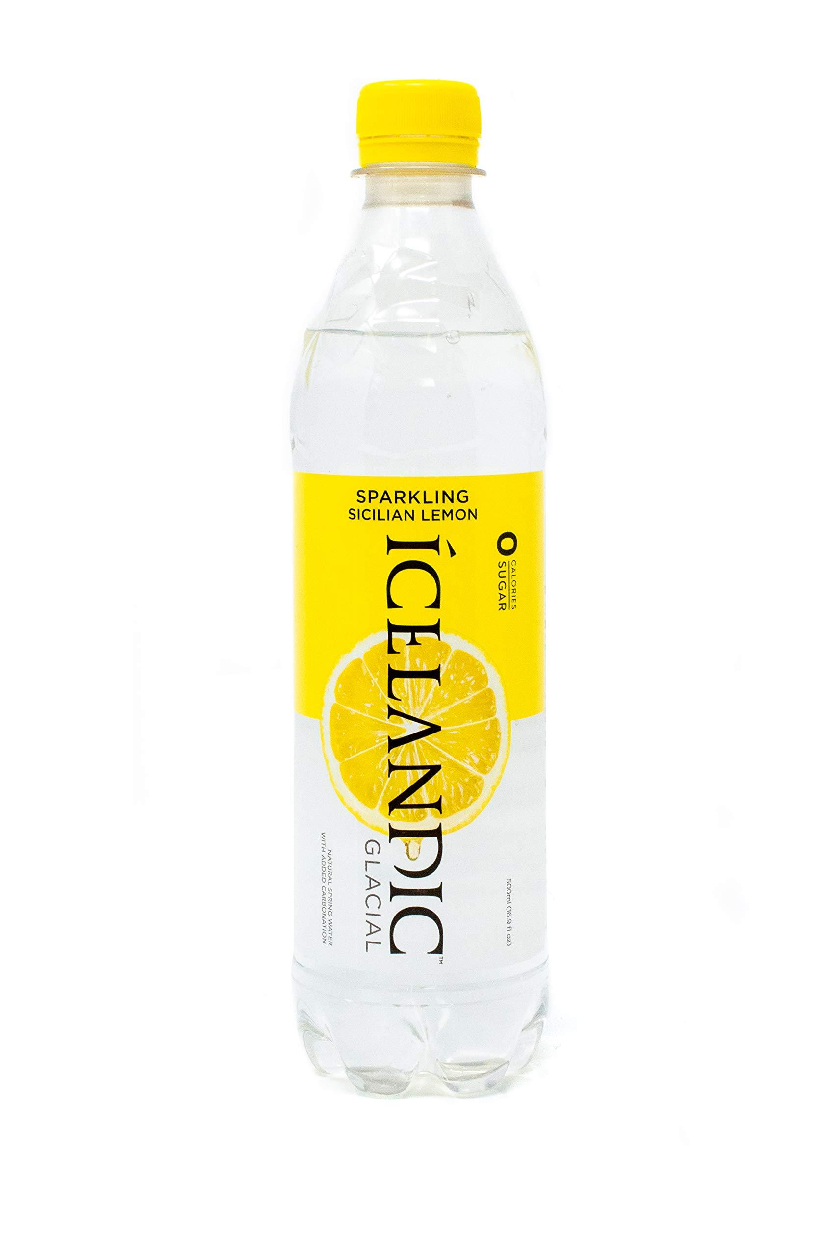 Icelandic Glacial Sparkling Water, Sicilian Lemon, 500 Milliliter, 24 Count