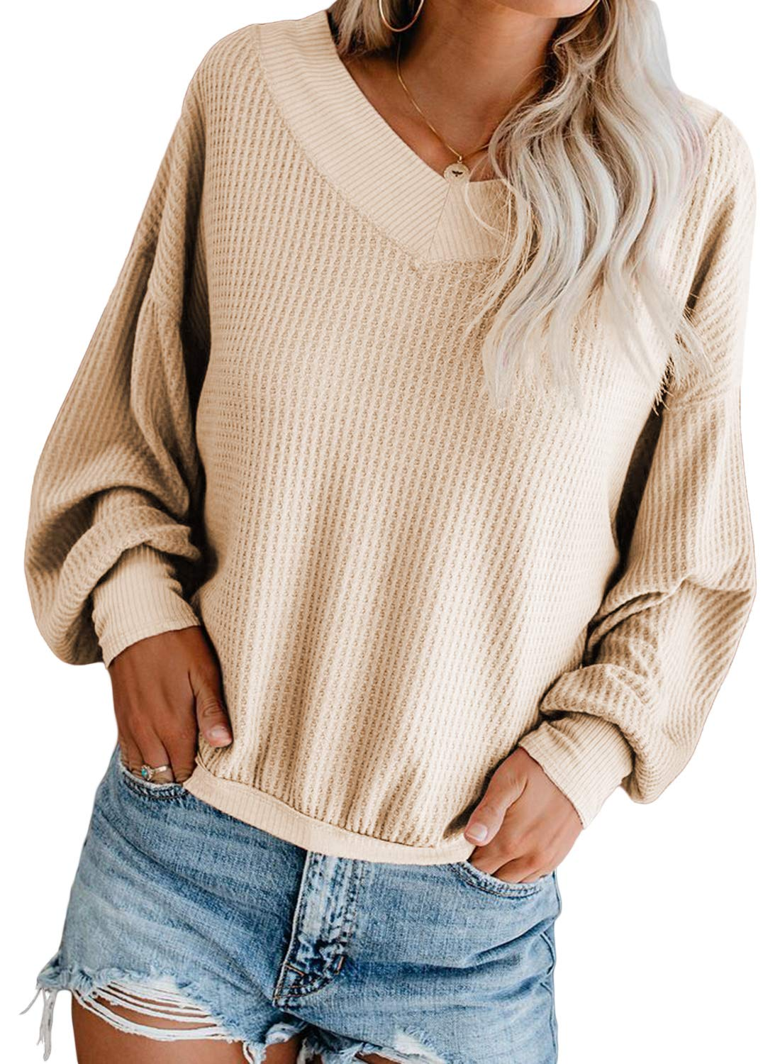 Silindashop Womens Waffle Knit V-Neck Long Sleeve Off The Shoulder Pullover Sweater Oversized Loose Top Shirts