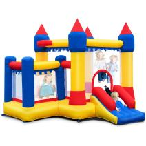 Costzon Inflatable Bounce House, Kids Castle Jumper w/Large Jumping Area, Surrounded Mesh Walls, Slide, Basketball Hoop, Including Oxford Carry Bag, Repair Kit, Stakes (Without Blower)