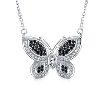 Bling Jewelry Garden Insect Black White Pave CZ Butterfly Pendant Necklace for Women for Teen Cubic Zirconia Silver Plated Brass