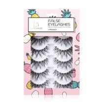 LANKIZ False Eyelashes 3D Fake Lashes Reusable Natural Handmade Strip Lash 5 Pairs Cross