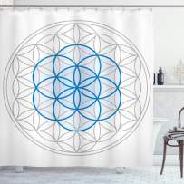 """Ambesonne Abstract Shower Curtain, Several Interlace Round Shaped Ovals Knot of Life Artwork, Cloth Fabric Bathroom Decor Set with Hooks, 75"""" Long, Warm Taupe"""