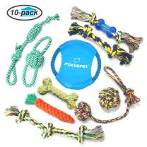 FOCUSPET Dog Chew Toys, 10 Pack Dog Rope Toys Set IQ Training Interactive Knot Chewing Biting Durable Cotton Toys for Small Medium Large Dogs