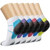 Ankle Compression Socks(3/6/7 Pairs) for Women & Men, Sport Plantar Fasciitis Arch Support Low Cut Running Gym Foot Sock