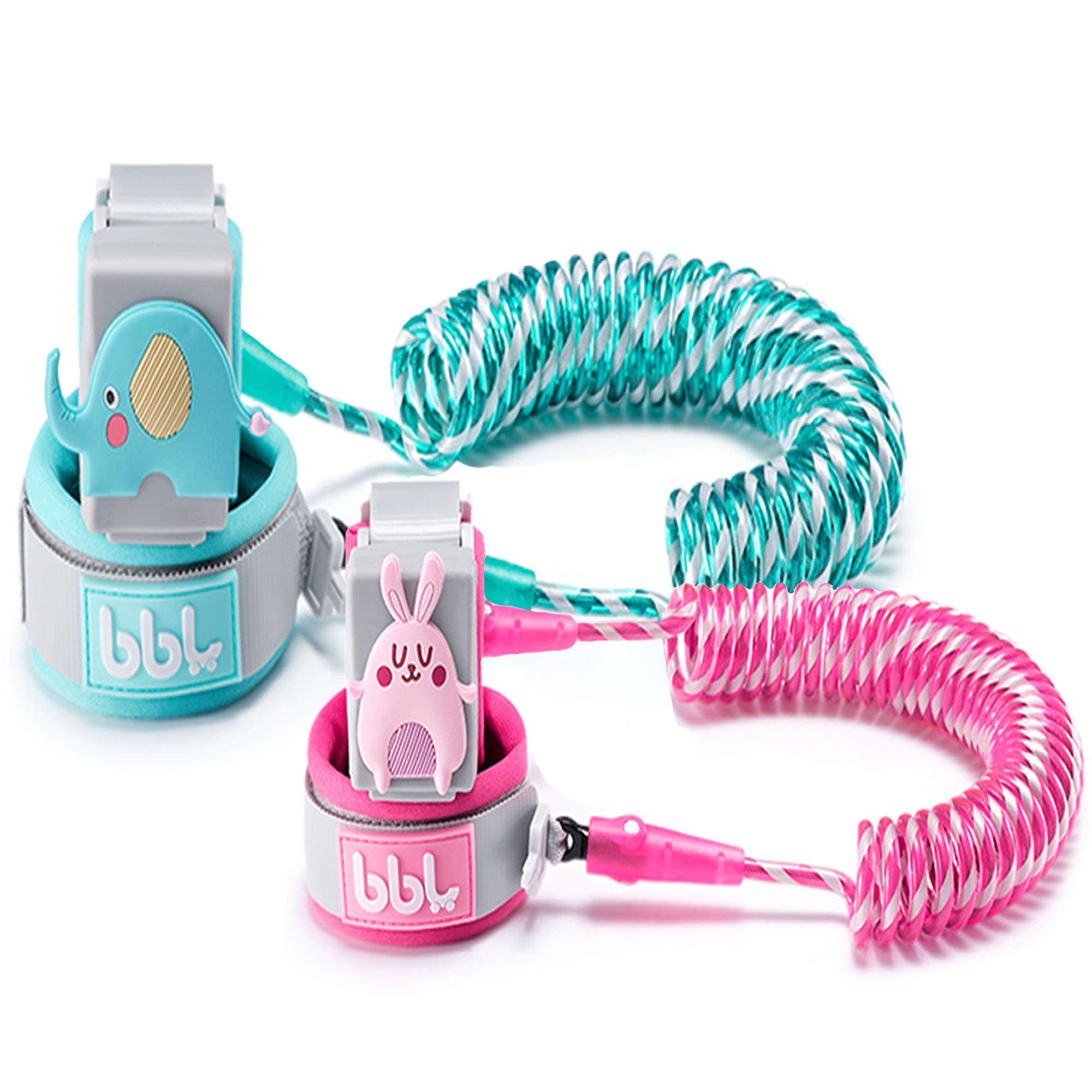 Anti Lost Wrist Link,Toddles Safety Wrist Leash,Anti Lost Rope Walking Harness with Key Lock,Parent-Child (Cyan/8.2 ft and Pink/4.9 ft) …