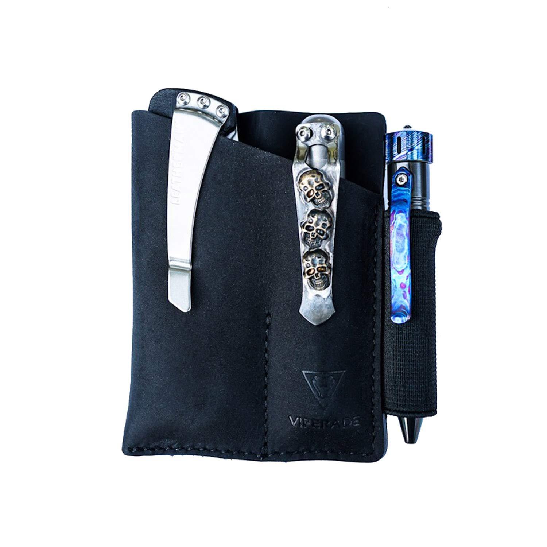 VIPERADE PJ12 Small EDC Leather Pocket Organizer for AA/AAA Flashlights, Mini Pocket Knives, Double EDC Pocket Leather Slip, Knife Organizer Leather Sheath, Flashlight Leather Holster with Clip(Black)