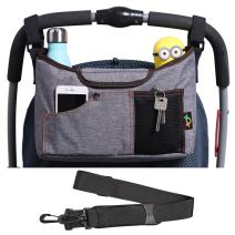 AMZNEVO Baby Stroller Organizer Bag with Cup Holders and Shoulder Strap. Extra Storage Space for Organize The Baby Accessories and Your Phones. (Grey)