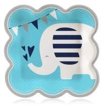 Big Dot of Happiness Blue Elephant - Boy Baby Shower or Birthday Party Dinner Plates (16 Count)