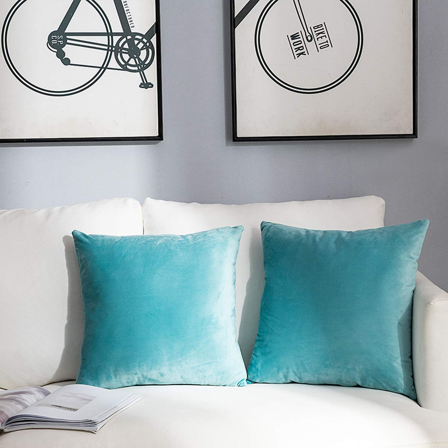 NANPIPER Set of 2 Velvet Soft Decorative Cushion Throw Pillow Covers 20x20 Inch/50x50 cm Cozy Solid Velvet Square Pillowcase Cushion Covers Cyan for Couch and Bed