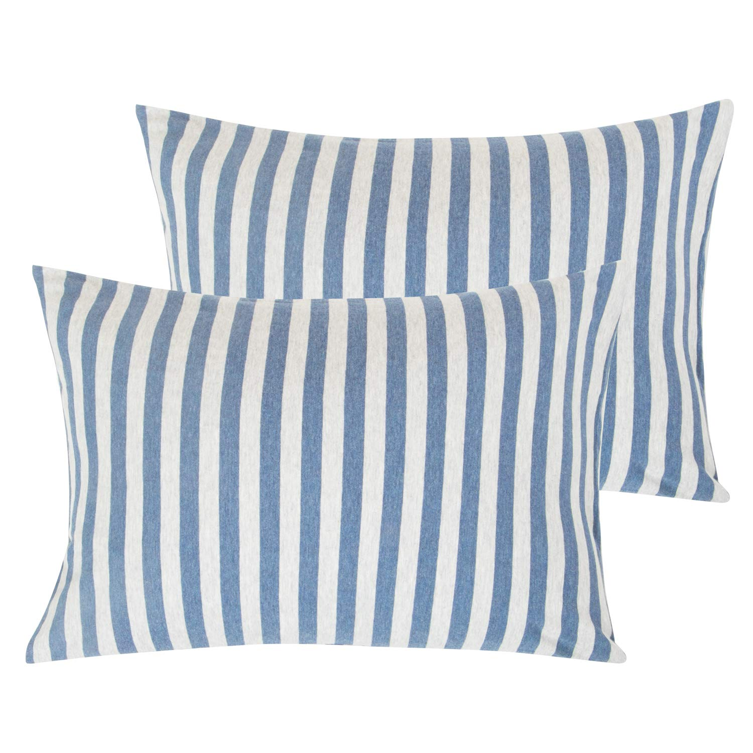 """NTBAY Organic Cotton Toddler Pillowcases, 2 Pcs Soft and Breathable Travel Pillow Cases, 13""""x 18"""", Blue and White"""