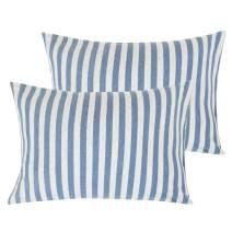 "NTBAY Organic Cotton Toddler Pillowcases, 2 Pcs Soft and Breathable Travel Pillow Cases, 13""x 18"", Blue and White"