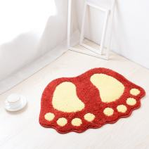 "JIAN YA NA Non Slip Bath Toilet Mat Cute Big Feet Bathroom Shower Rugs Shaggy Carpet Absorbent Doormat Floor Mat Living Room Sofa Cushion Foot Pad Rug (19""x26""(48x67CM), Red)"