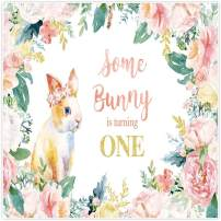 Allenjoy 8x8ft Fabric Some Bunny is Turning One Backdrop Supplies for Floral Spring Easter Girls 1st Birthday Party Decorations Photography Background Studio Portrait Pictures Photoshoot Props Favors