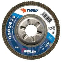"""Weiler 50505 Tiger Abrasive Flap Disc, Type 29, Round Hole, Aluminum Backing, Zirconia Alumina, 4"""" Dia., 80 Grit"""