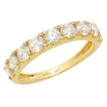 Clara Pucci 1.4 CT Round Cut Pave Set Bridal Wedding Engagement Band Ring 14kt Yellow Gold