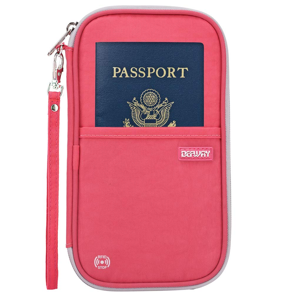 Defway Passport Wallet RFID Blocking Travel Organizer Bag Family Passport Holder with ID Window