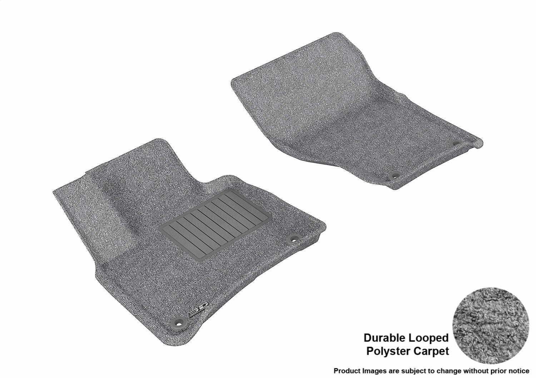 3D MAXpider Front Row Custom Fit Floor Mat for Select Porsche Cayenne/Volkswagen Touareg Models - Classic Carpet (Gray)