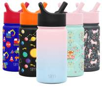Simple Modern 14oz Summit Kids Water Bottle Thermos with Straw Lid - Dishwasher Safe Vacuum Insulated Double Wall Tumbler Travel Cup 18/8 Stainless Steel - Ombre: Sweet Taffy