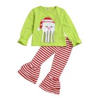 Kid Girl Christmas Outfits,Santa Claus Long Sleeve T-Shirt Top+Red Striped Bell Pants Winter Clothes