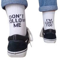 Men Dress Socks Black Novelty Crew Winter Funny Tube Socks Don't Follow Me I'm Lost Too