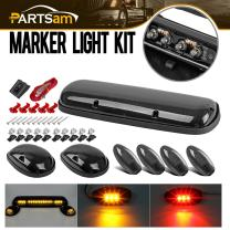 Partsam 3PCS Smoke Cover Lens Amber Cab Marker Light LED Roof Running Light Assembly + 4PCS Amber/Red Turn Signal Side Marker Light Compatible with / 2002 2003 2004 2005 2006