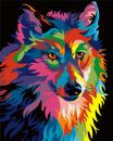 Komking DIY Paint by Numbers for Adults, Paint by Number Kits for Kids Beginner on Canvas Painting, Colorful Wolf 16x20inch