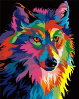 Komking DIY Oil Painting Paint by Numbers Kit for Adults Beginner, Colorful Animals Painting on Canvas with Frame 16x20inch - Colorful Wolf