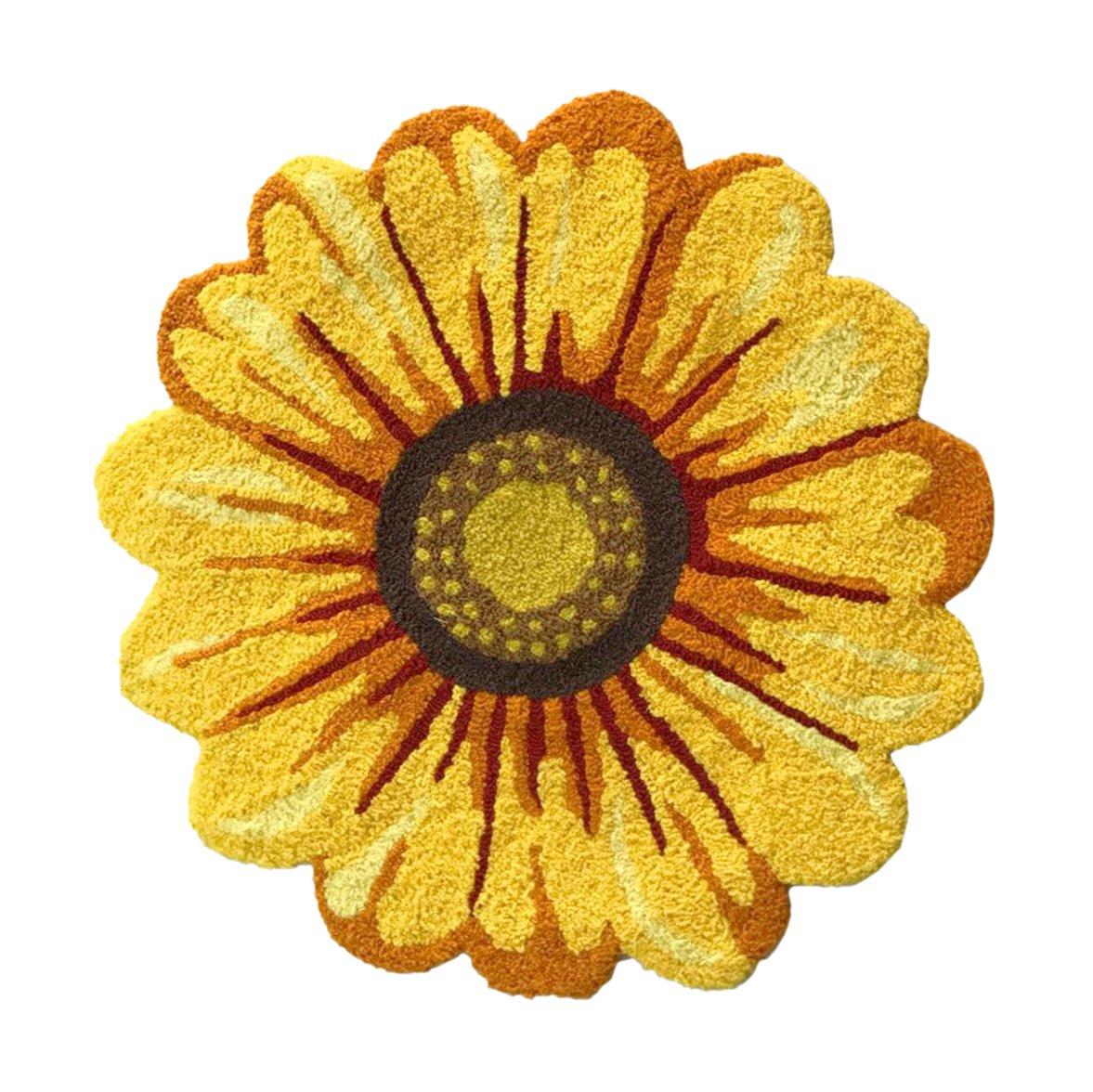 USTIDE Handmade Sunflower Rug Mat Girls Bedroom Rug Non-Slip Bath Mat Floor Rugs 2x2