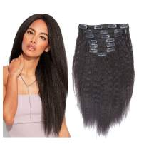 Loxxy Kinkys Straight Human Hair Clip Ins 100% Virgin Curly Clip In Hair Extensions Brazilian Kinky Curly Clip In Real Remy Big Thick Natural Hair Clip In Extensions for Black African Women KS 12 Inch