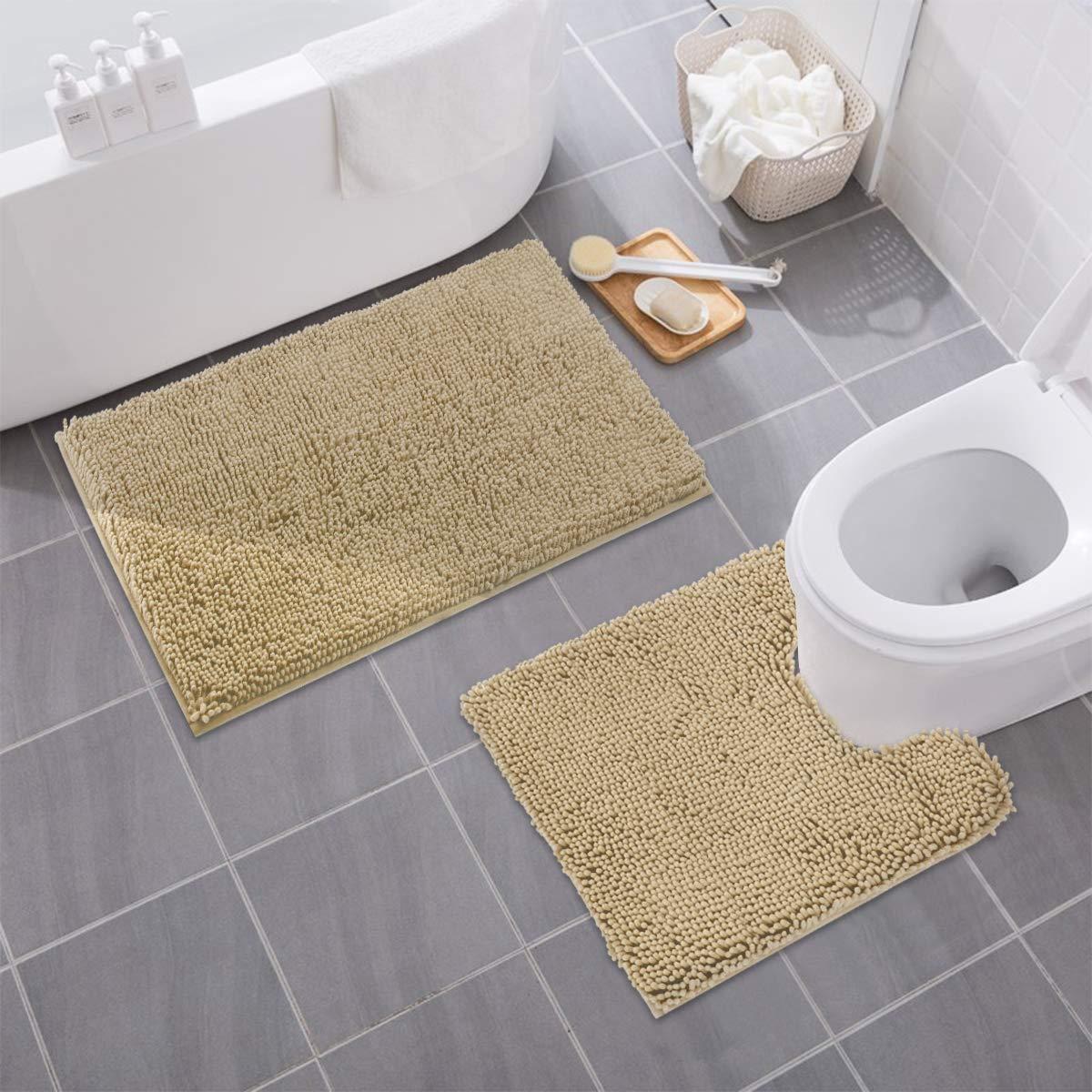"MAYSHINE Bathroom Rug Toilet Sets and Shaggy Non Slip Machine Washable Soft Microfiber Bath Contour mat (Beige,32"" 20""/20"" 20"" U-Shaped)"