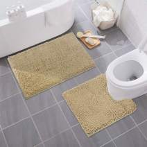 "MAYSHINE Bathroom Rug Toilet Sets and Shaggy Non Slip Machine Washable Soft Microfiber Bath Contour mat (Beige,32"" 20""/20"" 20"" U-Shaped)"