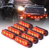 Xprite Red 4 LED 4 Watt Emergency Vehicle Waterproof Surface Mount Deck Dash Grille Strobe Light Warning Police Light Head with Clear Lens - 8 Pack