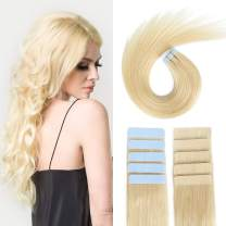 SUYYA Tape in Hair Extensions Remy Human Hair 18 inches 50g/pack 20pcs Straight Seamless Skin Weft Tape Hair Extensions(18 inches Color 613 Bleach Blonde)