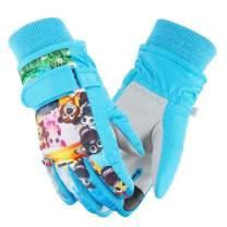Weanas Kids Ski Gloves Waterproof Winter Warm Mittens Camo Print Snowboard Gloves for Boys Girls
