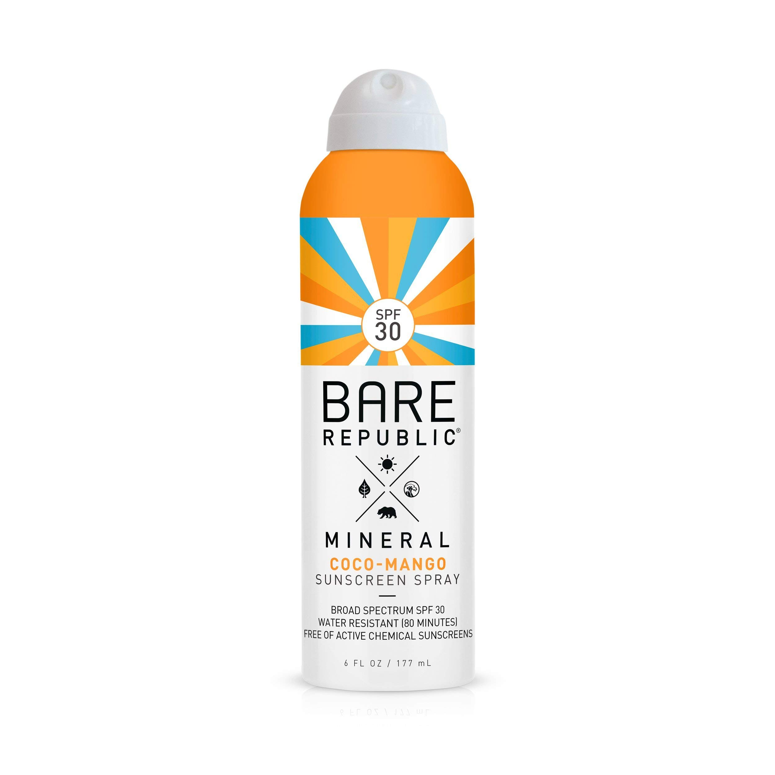 Bare Republic Mineral SPF 30 Sport Sunscreen Spray. Coconut-Mango Sheer and Strong Water-Resistant Sunscreen Spray, 6 ounces