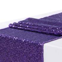 Poise3EHome Sequin Wedding Table Runner 13x108 inches Glitz Baby Shower Party Cake Table, Purple