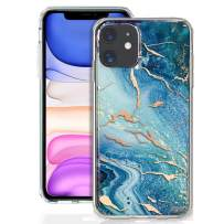GDTOGRT iPhone 11 Case, Slim Marble Pattern Design Thin Hybrid Scratch Resistant Protective Hard Back Flexible Shockproof TPU Rubber Silicone Bumper Cover Compatible iPhone 11 6.1 inch-Blue/Rose Gold