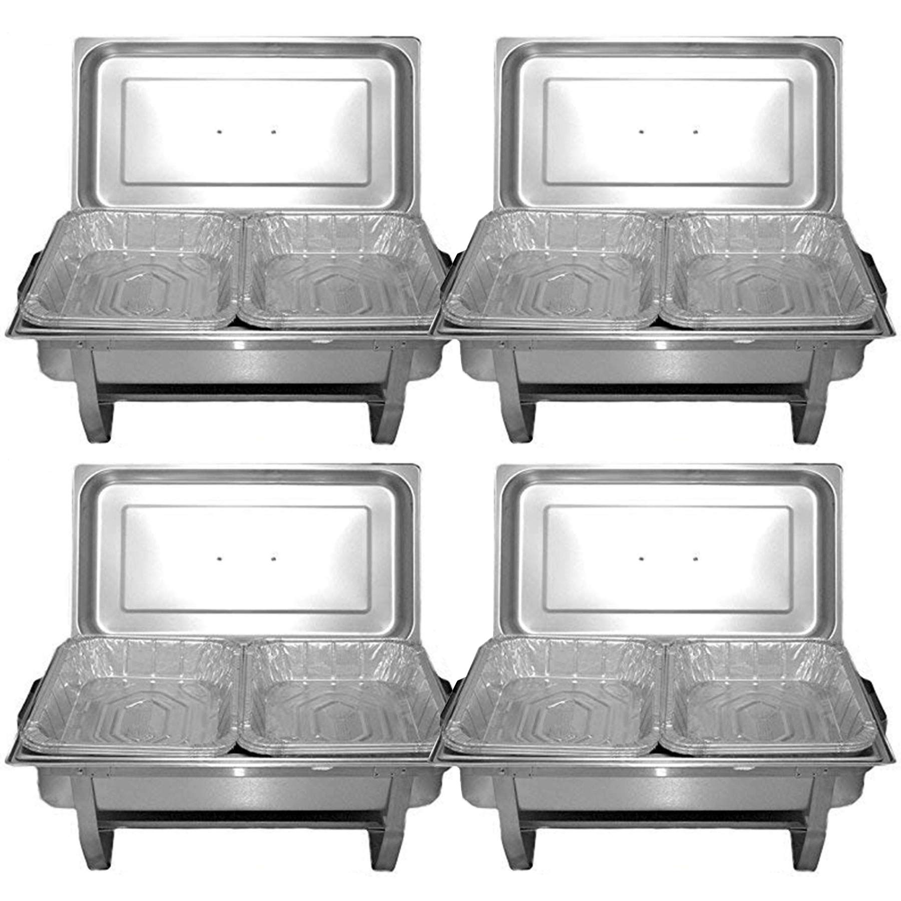 TigerChef Chafing Dish Buffet Set - Chaffing Dishes Stainless Steel - 4 Chafer and Buffet Warmer Sets with Water Pan, Food Pan and Disposable Pans