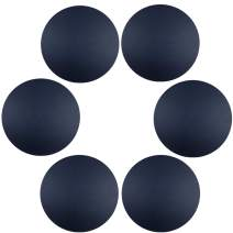 WAZAIGUR Round Placemats,Waterproof Easy to Clean Round Placemats for Dining Table Double-Sided Durable Faux Leather Placemats Set of 6(Navy Blue)